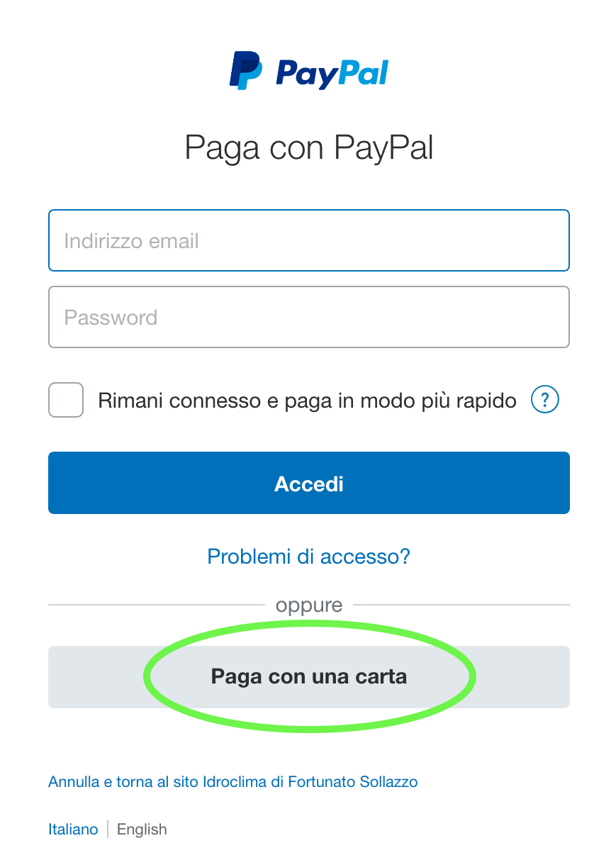 Procedura pagamento con Carte di Credito